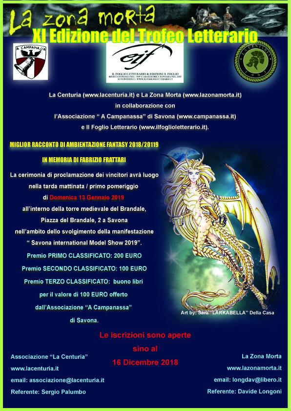 locandina XI Edizione del Trofeo Letterario Fantasy La Centuria, La Zona Morta e Associazione A' Campanassa di Savona 2018-2019